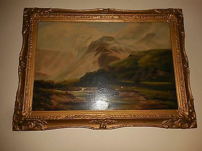 OIL ON CANVAS ORIGINAL M BARNES CATTLE and  Fishing  SCENE  EAGLE CLIFFS WALES