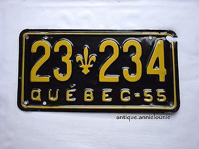1955 QUEBEC Vintage License Plate # 23 234