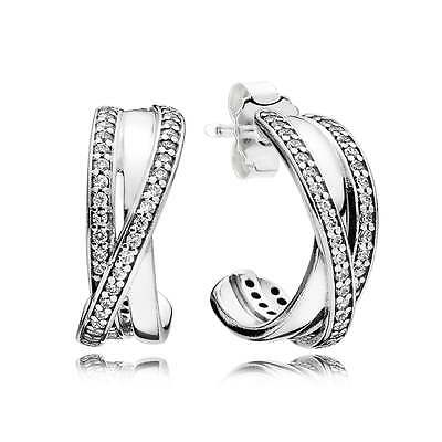Genuine & Authentic Pandora Entwined Silver Earrings. 290730CZ.