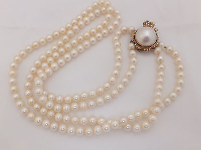 14ct gold two row cultured Pearl large & heavy Art Nouveau design necklace,585