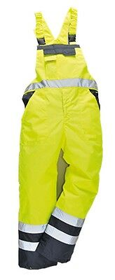 Portwest S489 Contrast Bib Brace Lined Large Yellow