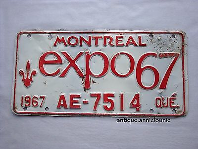 1967 QUEBEC EXPO67 Vintage License Plate # AE-7514