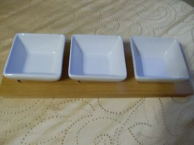 Food Net Work Set Of 3 White Ceramic Dishes On Wooden Tray