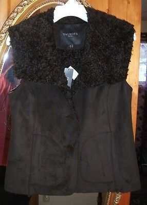Talbots Polyester And Faux Fur (Brown) Classy Winter Vest Jacket, Size 2 Petites