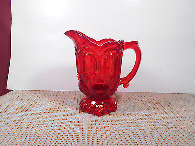 L. G. Wright Glass Moon & Stars Ruby Creamer/Pitcher 6 1/8""