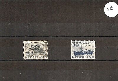 "Netherlands 1950 SG717/8 2v HM/Used ""Overijssl""-Canal freighter/Tugs-Bridge sect"
