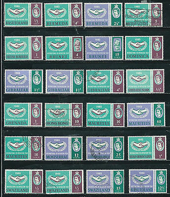 International Cooperation Year Issue-1965 -24 stamps mixed - Common Design Types
