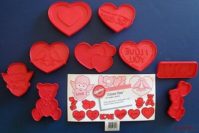 Wilton I LOVE YOU Plastic VALENTINE'S DAY Cookie Cutter Lot HEART Bear ANGEL