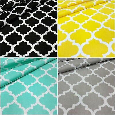 LOVELY Grey Mint Black Yellow 100% COTTON FABRIC Quatrefoil , moroccan