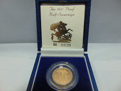1985 Gold Proof Half Sovereign 22 Carat With Coa