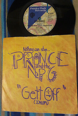 "PRINCE Gett Off UK Paisley Park thick wax 7"" picture sleeve record vinyl"