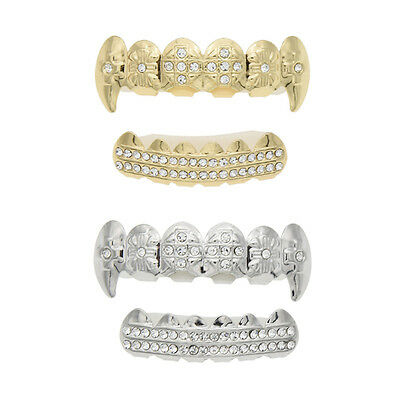 Hip Hop Gold Silver Plated Crystal Top & Bottom Grill Set Fangs Teeth Grills