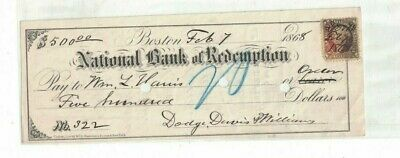 National Bank of Redemption Boston Mass Used Check 1868 w Revenue Stamp