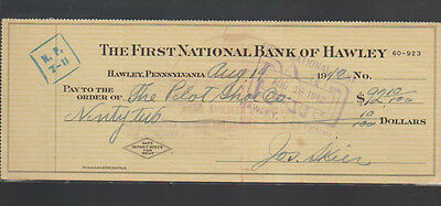 First National Bank of Hawley Pennsylvania Used Check 1942