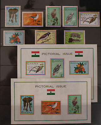 Ghana 1964 Pictorial Issue Set and 2 Mini Sheets MNH Animals Birds Flowers