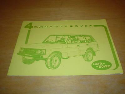 RANGE ROVER CLASSIC 4 DOOR FIRST EDITION Owners Handbook Instruction Manual Book