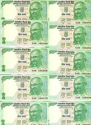 LOT India, 10 x 5 Rupees, 2010, Pick New, UNC   Gandhi, Tractor