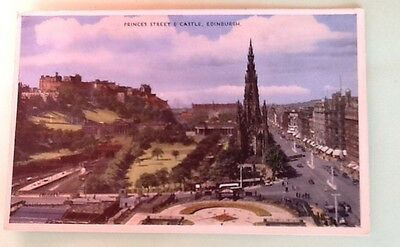 Princes Street & Castle Edinburgh old postcard Dennis Publications posted