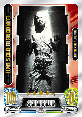 Force Attax Star Wars Movie Serie 2 Limitierte Karte LE6 Han Solo Karbonit!!!