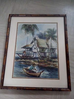 antique water colour painting signed Chinese artist Cheng