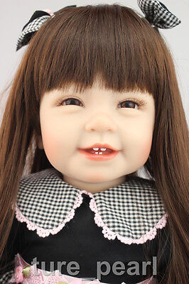 "22"" Reborn Cute Gift Toddler Doll Lifelike Princess Girl Vinyl Long Hair Baby"
