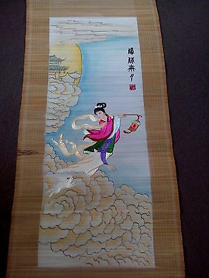 vintage embroidered Chinese bamboo scroll signed