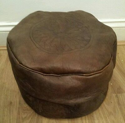 100% Leather Handcrafted Moroccan Pouffe brown New with defects Pouf Poufe