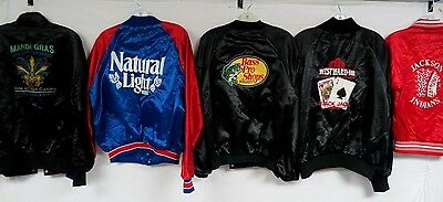 LOT OF 15 VINTAGE 80s 90s CONTEMP SATIN JACKETS SNAP TRUCKER LARGE 2XL BEER