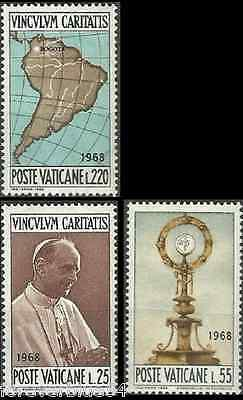 Vatican 1968 SG 513-515  Mi 538-40 MNH Visit To Colombia Map Pope World Congress
