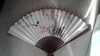 large wall display Chinese hand painted silk fan wooden sticks
