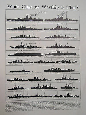 TYPES of WARSHIP old vintage retro print ROYAL NAVY Cruiser Aircraft Carrier etc