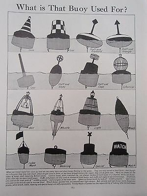 TYPES OF BUOY old vintage retro print 1930s SEA MARINE OBJECTS SAILING SHIP etc