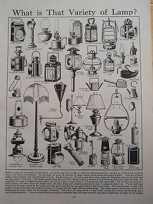 Types of LAMP old vintage retro print LIGHT LAMP inc Lantern Oil Storm Cycle etc