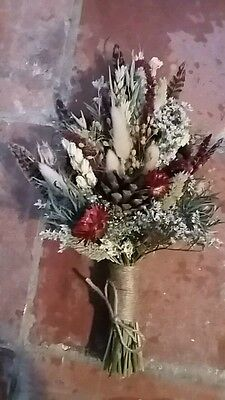 Dried Flower Wedding Small Bouquet by Florence and Flowers Wild Feathers Boho