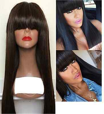 """SALE! Brazilian Human Hair Straight Lace Front Wig With Bangs, 18"""" 130% Density"""
