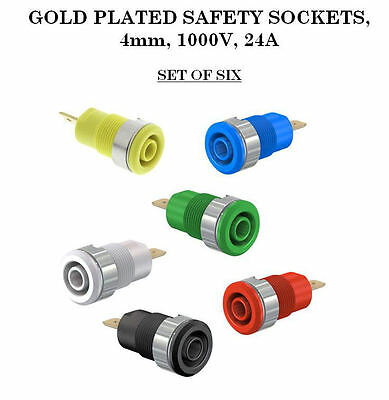 4mm Safety Sockets, Gold Plated, Set of 6 Colours
