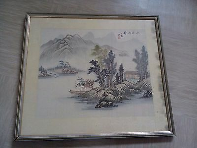 antique Chinese painting signed on paper with silk border