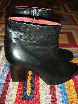 ANNE KLEIN Black Leather Ankle Boots size UK 6