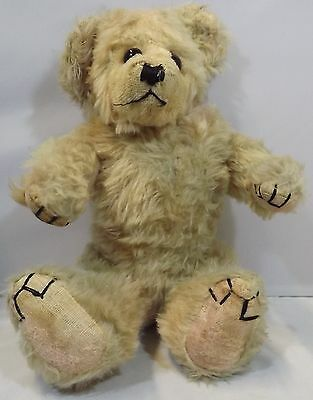 """VINTAGE 1940s/50s 14"""" JOINTED MOHAIR TEDDY BEAR, POSSIBLY BY FARNELL"""