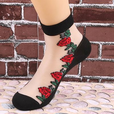 Lace Transparent Ultrathin Sexy Elastic Rose Pattern Beautiful Short Socks