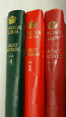 3 Windsor Album Stamps of Great Britain Vol1, Vol 2 & Vol 4 with stamps 1841!!