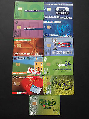 Griechenland Lot 11 Different Phonecards With Error(No Code) Carlsberg Beer Rare