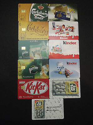 Griechenland 11 Different Phonecards With Error(No Code) Perrier,kinder,kit Kat