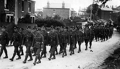 WW1 WWI BEF British soldiers Northamptonshire Regiment on the march