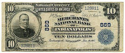 1902 Merchants National Bank of Indianapolis $10 Ten Dollar - Large Note - AF265