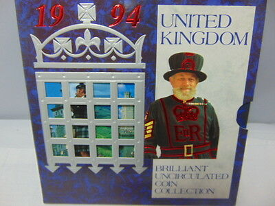 1994 Uk Brilliant Uncirculated Coin Collection With Coa