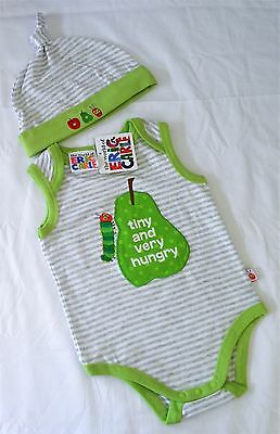 The Very Hungry Caterpillar New Size 1 Romper & Hat Set, Licensed Eric Carle