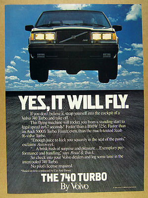 1985 Volvo 740 Turbo 'Yes, It will fly' car photo vintage print Ad