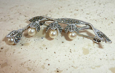Antique Vintage Silver Pearl & Marcasite Lily of the Valley Brooch Pin