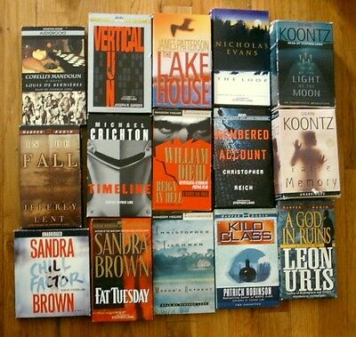 Lot of 16 AUDIOBOOKS (14-Cassettes, 2-CDs) All Read by Actor STEPHEN LANG